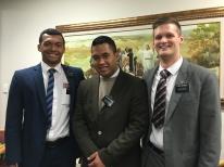 Elder Teri, with companions, Elder Tiko, Elder Browned