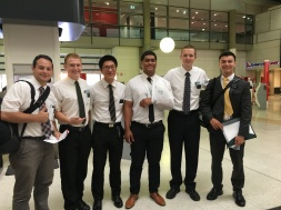 A group at the airport sending Elder Kallas off to Rock Hampton.
