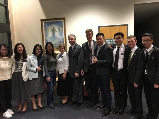 Sisters: YSA, Lin, Wen, YSA, S & P McSwain, Elders Miller, Wang, Zhang, Lambert, and Peng