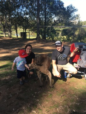 Trey, Mom, Dad with Kangaroo!