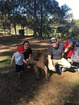 Trey, Mom, Dad with Kangaroo!