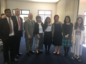 Elder Sharma, President McSwain, Elder and Sister Bell, Sisters Tsai, Lin, Wen, and Tang