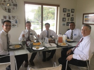 Breakfast! Elder Hymas, Smoot, Pugsley, Fukofuka, President