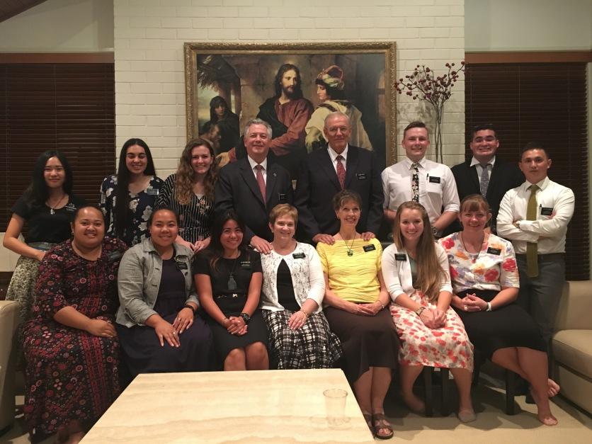 Departing Missionaries Jan. 30, 2018 Couple: Yates, Elders: Keeshan, Santander, Cadiang, Sisters: Sawatdeenaruemol, Anitema, Sau', Orleans, McCall, Day, Rhodes, Sykes